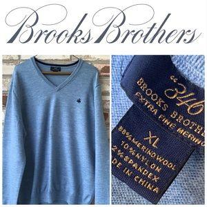 XL Brooks Brothers Blue V-Neck Merino Wool Sweater